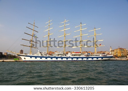 Venice, Italy - October 06, 2012: Royal Clipper sailing ship by Stars Clippers at port of Venice - stock photo