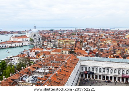 VENICE, ITALY - on APRIL 30, 2015. The top view from San Marco kampanilla on San-Marko Square and roofs of ancient palaces