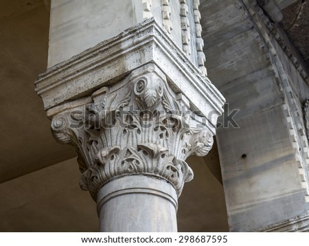 VENICE, ITALY - on MAY 3, 2015. Fragment of a facade of the typical ancient house - stock photo