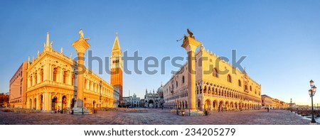 Venice, Italy. Panoramic view of San Marco Place and Doges Palace - stock photo