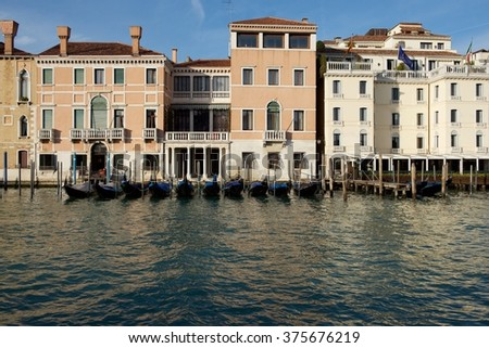 Venice, Italy. Panoramic view of Venice, Grand Canal. Venice street, view of Venice canal. Venice, Italy