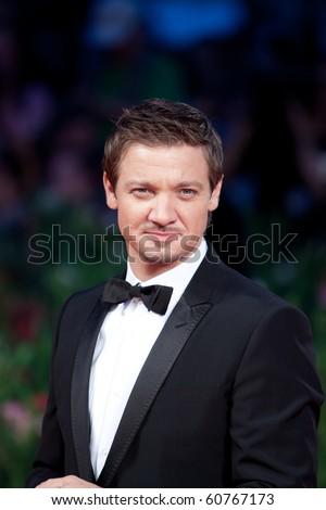 "VENICE, ITALY - SEPTEMBER 8: actor Jeremy Renner on red carpet for movie premiere of ""The Town"" by Ben Affleck at 67th Venice Film Festival September 8, 2010 in Venice, Italy."