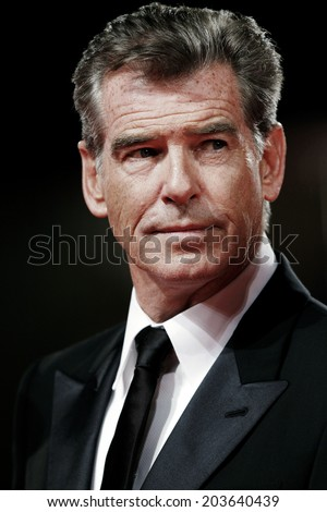 VENICE, ITALY - SEPTEMBER 02: Actor Pierce Brosnan attends 'Love Is All You Need' Premiere at The 69th Venice Film Festival on September 2, 2012 in Venice, Italy.  - stock photo
