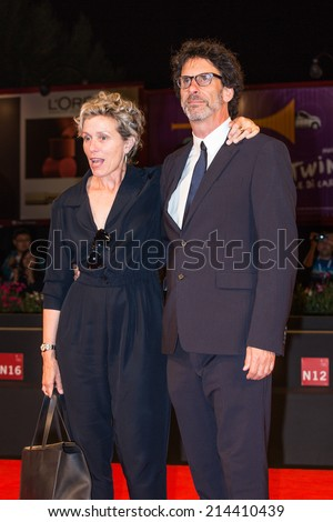 VENICE, ITALY - SEPTEMBER 01: Actress Frances McDormand and Joel Coen attend the 'Olive Kitteridge Part 3-4' - Premiere during the 71st Venice Film Festival on September 1, 2014 in Venice, Italy.