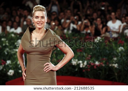 VENICE, ITALY - SEPTEMBER 01: Actress Kate Winslet attends the 'Carnage' premiere during the 68th Venice Film Festival on September 1, 2011 in Venice, Italy.  - stock photo