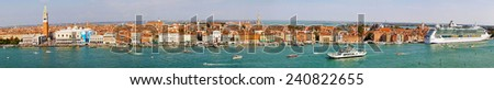 VENICE, ITALY - SEPTEMBER 26: Aerial cityscape panorama of Venice on SEPTEMBER 26, 2009. Aerial cityscape panorama of Venice, Italy. - stock photo