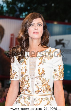 VENICE, ITALY - SEPTEMBER 01: Anna Mouglalis attends the 'Il Giovane Favoloso' premiere during the 71st Venice Film Festival at Sala Grande on September 1, 2014 in Venice, Italy.