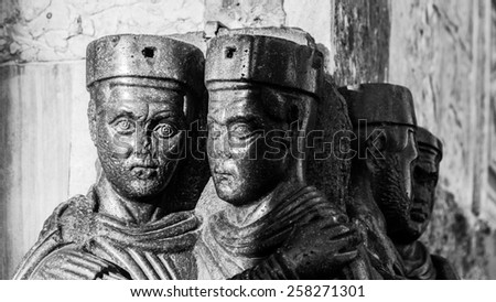 VENICE, ITALY - SEPTEMBER 06 2013: Antique Roman Statue Group of the Tetrarchs. Marble Statues of the Emperors of Rome - stock photo