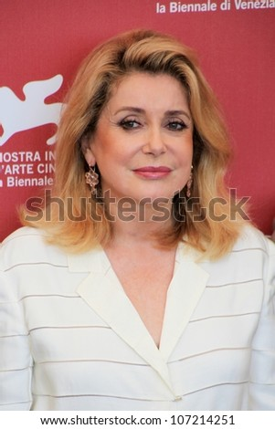 VENICE, ITALY - SEPTEMBER 04: Catherine Deneuve posing for photographers at 67th Venice Film Festival September 04, 2010 in Venice, Italy.