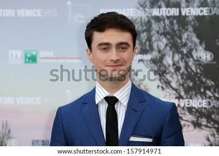 VENICE, ITALY - SEPTEMBER 01: Daniel Radcliffe arrives for film Kill Your Darlings of the register John Krokidas during the 70th Venice Film Festival on September 01, 2013 in Venice, Italy  - stock photo
