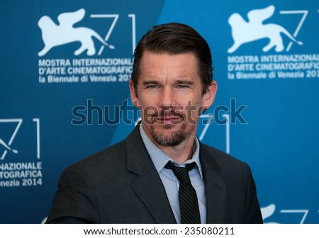 VENICE, ITALY - SEPTEMBER 05:  Ethan Hawke attends 'Good Kil Photocall during the 71st Venice Film Festival at Sala Grande on September 05, 2014 in Venice, Italy  - stock photo