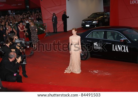 VENICE, ITALY - SEPTEMBER 04: Jessica Chastain  attend the 'Wild Salome' premiere during the 68th Venice Film Festival at Palazzo del Cinema on September 4, 2011 in Venice, Italy. - stock photo