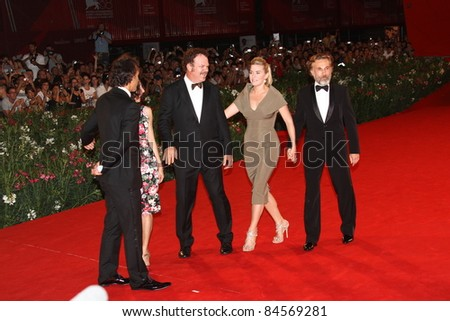 VENICE, ITALY - SEPTEMBER 01:   John C. Reilly, Kate Winslet and Christoph Waltz attends the premiere of 'Carnage' during the  Venice Festival at Sala Grande on September 1, 2011 in Venice, Italy. - stock photo