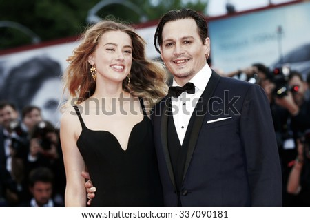 VENICE, ITALY - SEPTEMBER 4: Johnny Depp and Amber Heard attend 'Black Mass' premiere during the 72nd Venice Film Festival on September 4, 2015 in Venice, Italy. - stock photo