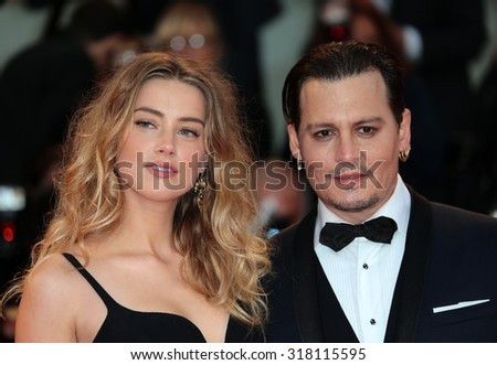 VENICE, ITALY - SEPTEMBER 04: Johnny Depp and Amber Heard during the 72th Venice Film Festival 2015 in Venice, Italy - stock photo