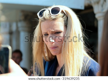 VENICE, ITALY - SEPTEMBER 07: Michelle Hunziker   during the 72th Venice Film Festival 2015 in Venice, Italy - stock photo