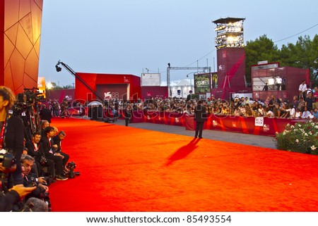 VENICE, ITALY - SEPTEMBER 08: Preparations ahead of the 68th Venice Film Festival at the Palazzo Del Casino on September 08, 2011 in Venice, Italy. - stock photo