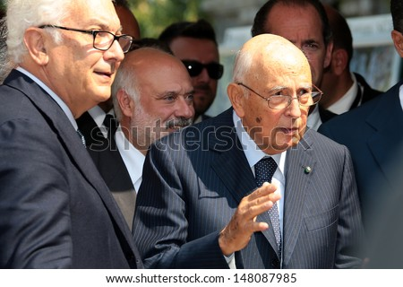 VENICE, ITALY - SEPTEMBER 06: President of Italian Republic Giorgio Napolitano arrive at the hotel Excelsior for the Venice Film Festival on September 06, 2012 in Venice, Italy