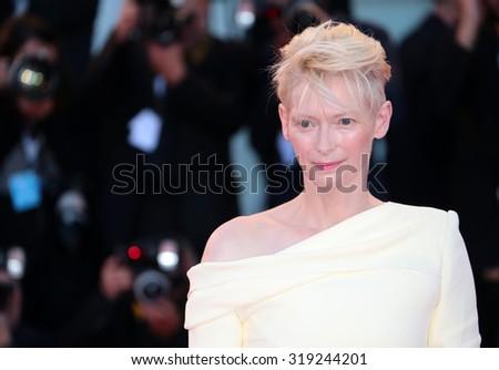 VENICE, ITALY - SEPTEMBER 06: Tilda Swinton during the 72th Venice Film Festival 2015 in Venice, Italy - stock photo
