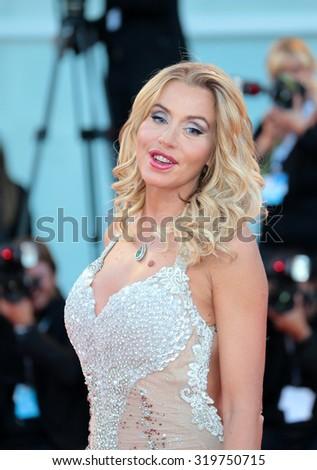 VENICE, ITALY - SEPTEMBER 08: Valeria Marini during the 72th Venice Film Festival 2015 in Venice, Italy - stock photo