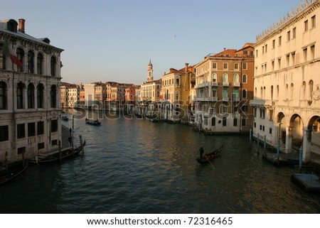 Venice, Italy, sunset on Canal Grande, Cannaregio district