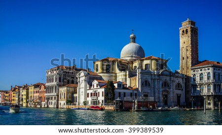 Venice, Italy - 11th February 2016: The daytime Grand Canal viewed from the Vaporetti water bus overlooking the Church of San Geremia in a stunning view. - stock photo