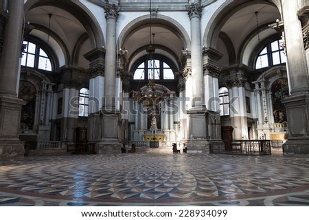 VENICE, ITALY: 17th of August 2014: Santa Maria Della Salute, Church of Health, Grand canal on 17th of August 2014 in VENICE, ITALY - stock photo