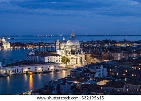 VENICE, ITALY - 25th of August 2014:View over the Venice from the tower on San Marco square on 25th of August 2014 in VENICE, ITALY - stock photo