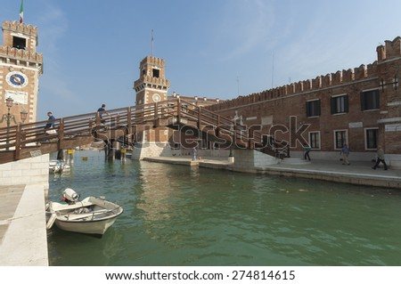 VENICE/ITALY 27TH SEPTEMBER 2006  The Arsenal district on a sunny autumn morning  - stock photo