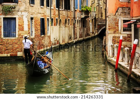 Venice, Italy - Venice Canal and gondolas - stock photo
