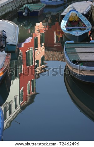 Venice, Italy, water view of Burano's fishermen houses