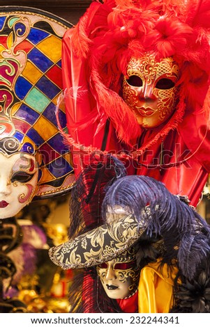 VENICE - JUN  2 2014: street carnival mask shop on  in Venice, Italy. The Carnival of Venice is an annual festival, held in Venice, Italy where many visitors come just come to see this event. . - stock photo