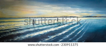 Venice lagoon at sunset painted by oil on a canvas. - stock photo