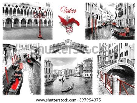 Venice landmarks. Illustration in draw, sketch style. - stock photo