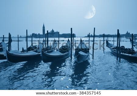 Venice landscape, Italy, at moonlight  in summer - stock photo