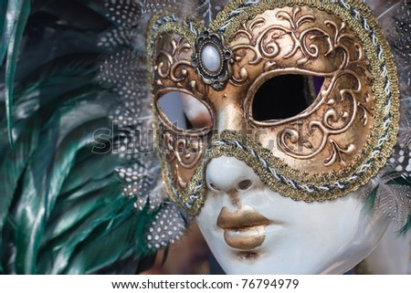 venice mask with green and gold - stock photo