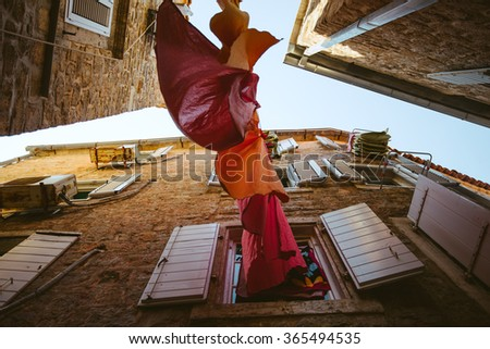 Venice narrow streets of Europe, old streets with their wonderful diversity - stock photo