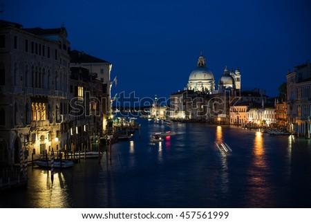 Venice - Night view of Grand canal from Rialto bridge. - stock photo