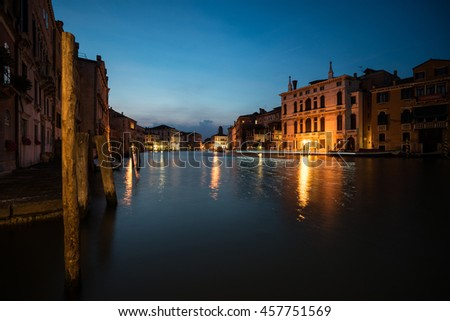 Venice - Night view of Grand canal from Rialto bridge. - stock photo