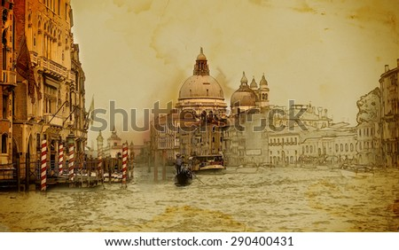 Venice on old paper background,vintage style - stock photo
