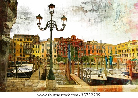 Venice on sunset - artwork in painting style - stock photo