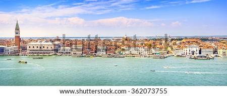 Venice panoramic landmark, aerial view of Piazza San Marco or st Mark square, Campanile and Ducale or Doge Palace. Italy, Europe. - stock photo