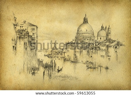 Venice. Pencil on paper. - stock photo