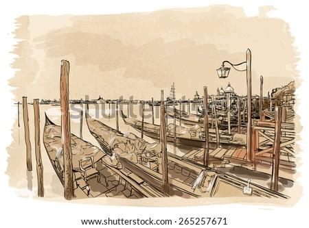 Venice. Quay Piazza San Marco. Gondolas on the water - stock photo