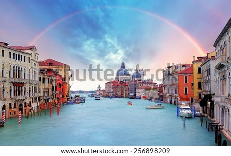 Venice - Rainbow over Grand Canal  - stock photo
