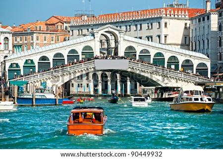 Venice,  Rialto Bridge. Italy. - stock photo