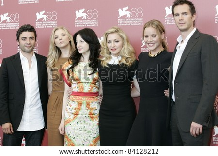 VENICE -SEP 1: Oscar Isaac; Andrea Riseborough; Madonna; Abbie Cornish; James D'Arcy at the 68th Venice International Film Festival in Venice, Italy on September 1, 2011. - stock photo