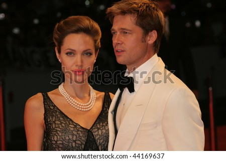 VENICE - SEPT 2:Angelina Jolie and Brad Pitt attends the premiere of 'The Assassination of Jesse James by the coward Robert Ford' at the 64th Venice Film Festival on September 2, 2007 in Venice. - stock photo