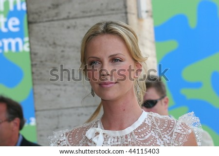 VENICE - SEPT 1:Charlize Theron attends the In The Valley Of Elah photocall in Venice during day 4 of the 64th Venice Film Festival on September 1, 2007 in Venice, Italy. - stock photo