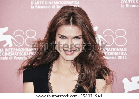 VENICE - SEPTEMBER 7: Actress Monica Barladeanu poses at photocall during the 68th Venice Film Festival at Palazzo del Cinema in Venice, September 7, 2011 in Venice, Italy. - stock photo